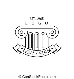Law Firm And Lawyer Office Black And White Logo Template With Ionic Pillar Justice Symbol Silhouette