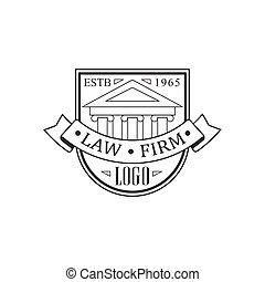 Law Firm And Lawyer Office Black And White Logo Template With Court Building Justice Symbol Silhouette