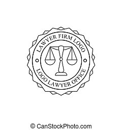 Law Firm And Lawyer Office Black And White Logo Round Stamp Shape Template With Justice Symbol Silhouette