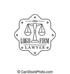 Law Firm And Lawyer Office Black And White Logo Template With Balance Justice Symbol Silhouette