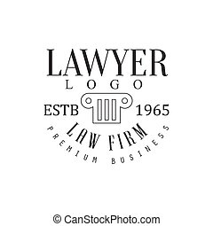Law Firm And Lawyer Office Black And White Logo Template With Greek Pillar Justice Symbol Silhouette