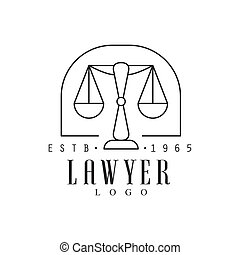 Law Firm And Lawyer Office Black And White Logo Template With Market Balance Justice Symbol Silhouette