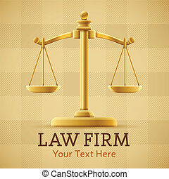 Law firm justice scale background concept with space for text.