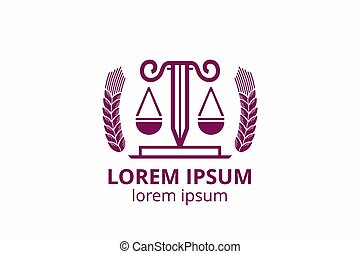 law firm - Law office logo set with scales of justice, ...