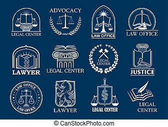 Law firm, legal center and lawyer office badge set. Justice...