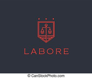 Law firm line trend logo icon vector design. Universal legal, lawyer, scales creative premium symbol.