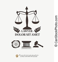 Law firm logos, lawyer weight and gavel attorney label. Typographic elements