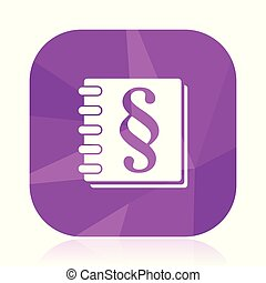 Law flat vector icon. Book violet web button. Justice internet square sign. Paragraph modern design symbol in eps 10.