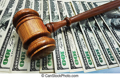 Law gavel on money