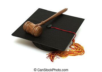 Law Graduate - A mortarboard and gavel are isolated for law...