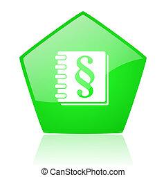 law green pentagon web glossy icon
