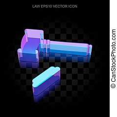 Law icon: 3d neon glowing Gavel made of glass, EPS 10 vector.