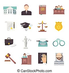 Law Icon Flat - Law and judgment legal justice icon flat set...