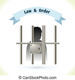 Law icon prisoner in jail - Law icon prisoner silhouette in...