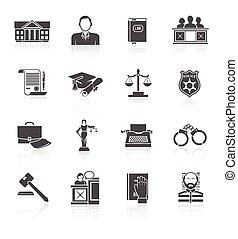Law Icon Set - Law court and criminal symbols icon black set...