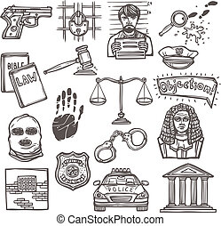 Law justice and legislation icon sketch set isolated vector illustration