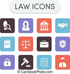 Law Icons - Set of colored vector justice, law and legal...
