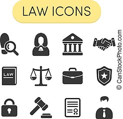 Law Icons - Set of simple grey vector justice, law and legal...