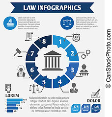 Law icons infographic - Law legal justice infographics with...
