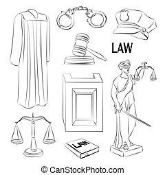 Law icons set.