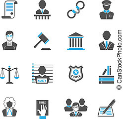 Law icons set - Law legal justice crime and punishment icons...