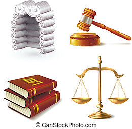 Law Icons Set - Law legal justice icons set with judge wig...