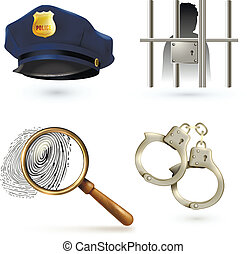 Law Icons Set - Law legal justice police icons set with...