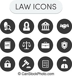 Law Icons - Set of round grey vector justice, law and legal...