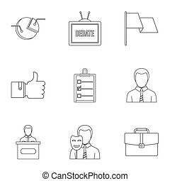 Law icons set, outline style - Law icons set. Outline style...