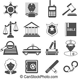 Law legal justice judge police and legislation black and white icons set isolated vector illustration