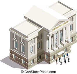 Law isometric icon with district court building and people at entrance on white background 3d vector illustration