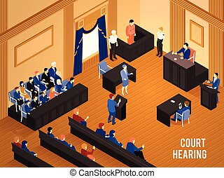 Law Isometric Illustration - Court hearing with judge jury...