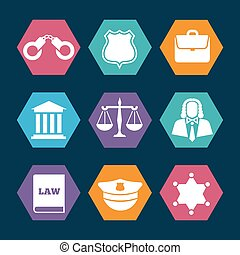 Law, justice and police icons set