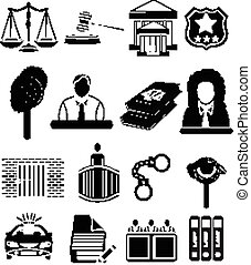 Law justice court icons set