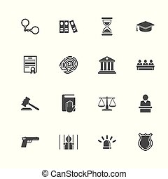 Law Justice - Flat Vector Icons