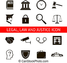 Law Legal Justice Icons and Symbols Isolated Silhouette Vector Illustration