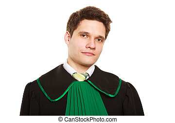 Law. Man lawyer attorney in polish gown isolated