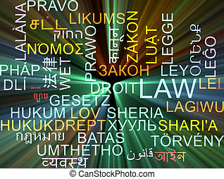 Law multilanguage wordcloud background concept glowing
