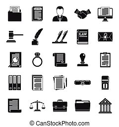 Law notary icons set. Simple set of law notary vector icons for web design on white background