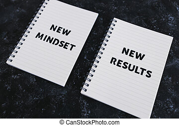 law of attraction, notepad with New Mindset New Results text
