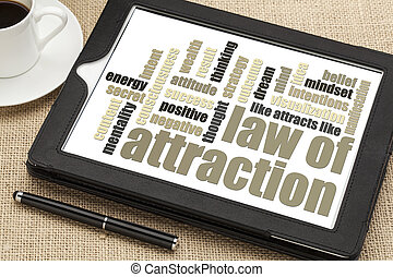 law of attraction word cloud on a digital tablet with cup of coffee