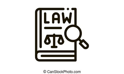 law of justice Icon Animation. black law of justice animated icon on white background