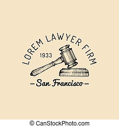 Law office logo with gavel illustration. Vector vintage attorney, advocate label, juridical firm badge.