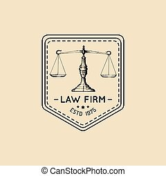 Law office logo with scales of justice illustration.