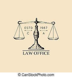 Law office logo with scales of justice illustration. Vector vintage attorney, advocate label, juridical firm badge.