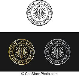 Law office logos set. Vector vintage attorney, advocate labels, juridical firm badges. Act,principle,legal icons design.