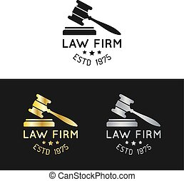 Law office logos set with gavel illustration. Vector vintage attorney, advocate labels,juridical firm badges collection.