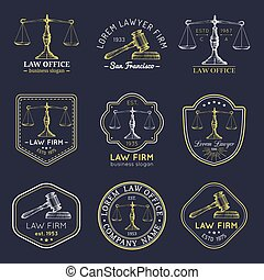 Law office logos set with scales of justice, gavel illustrations. Vector vintage attorney, advocate labels, firm badges.