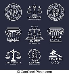 Law office logos set with scales of justice, gavel etc illustrations. Vector vintage attorney, advocate labels, juridical firm badges collection. Act, principle, legal icons design.