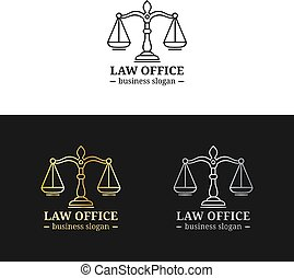 Law office logos set with scales of justice illustration. Vector vintage attorney, advocate labels, juridical firm badges collection. Act, principle, legal icons design.